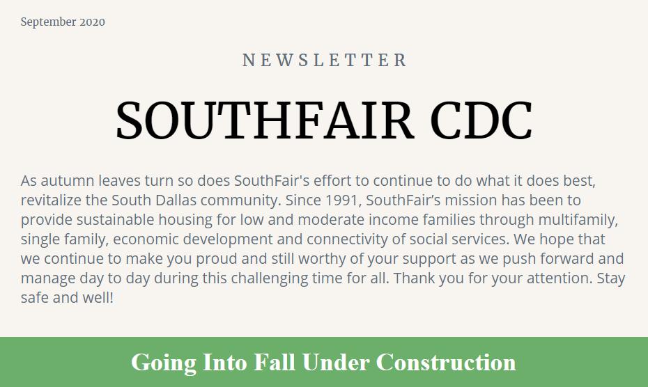 Southfair CDC September 2020 Newsletter